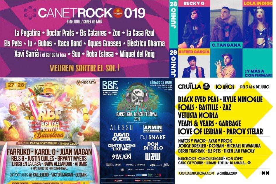 Cartel festivales Barcelona verano 2019
