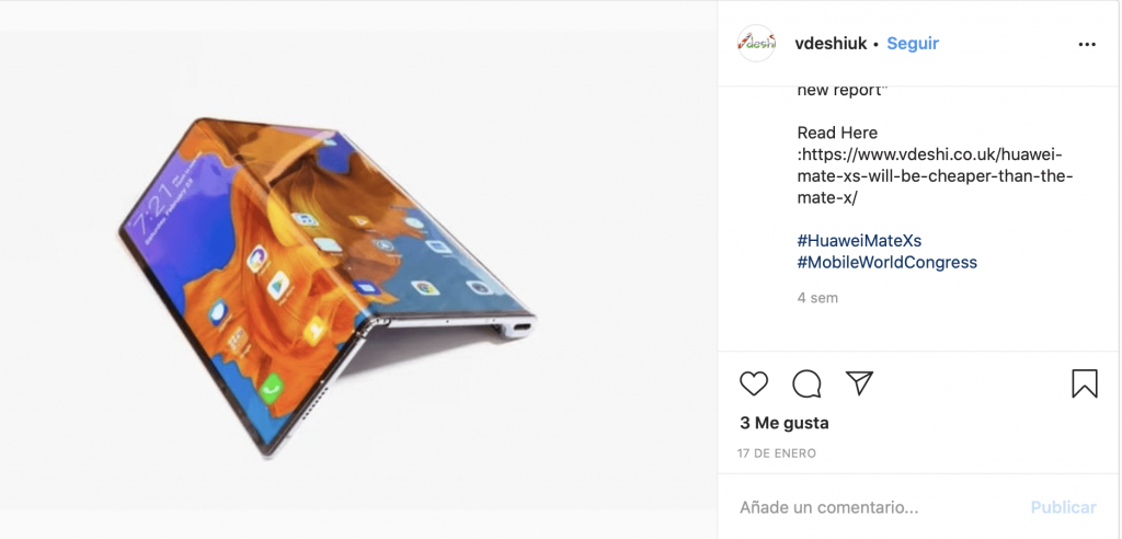 Example image of the new Huawei MATE X for the MWC