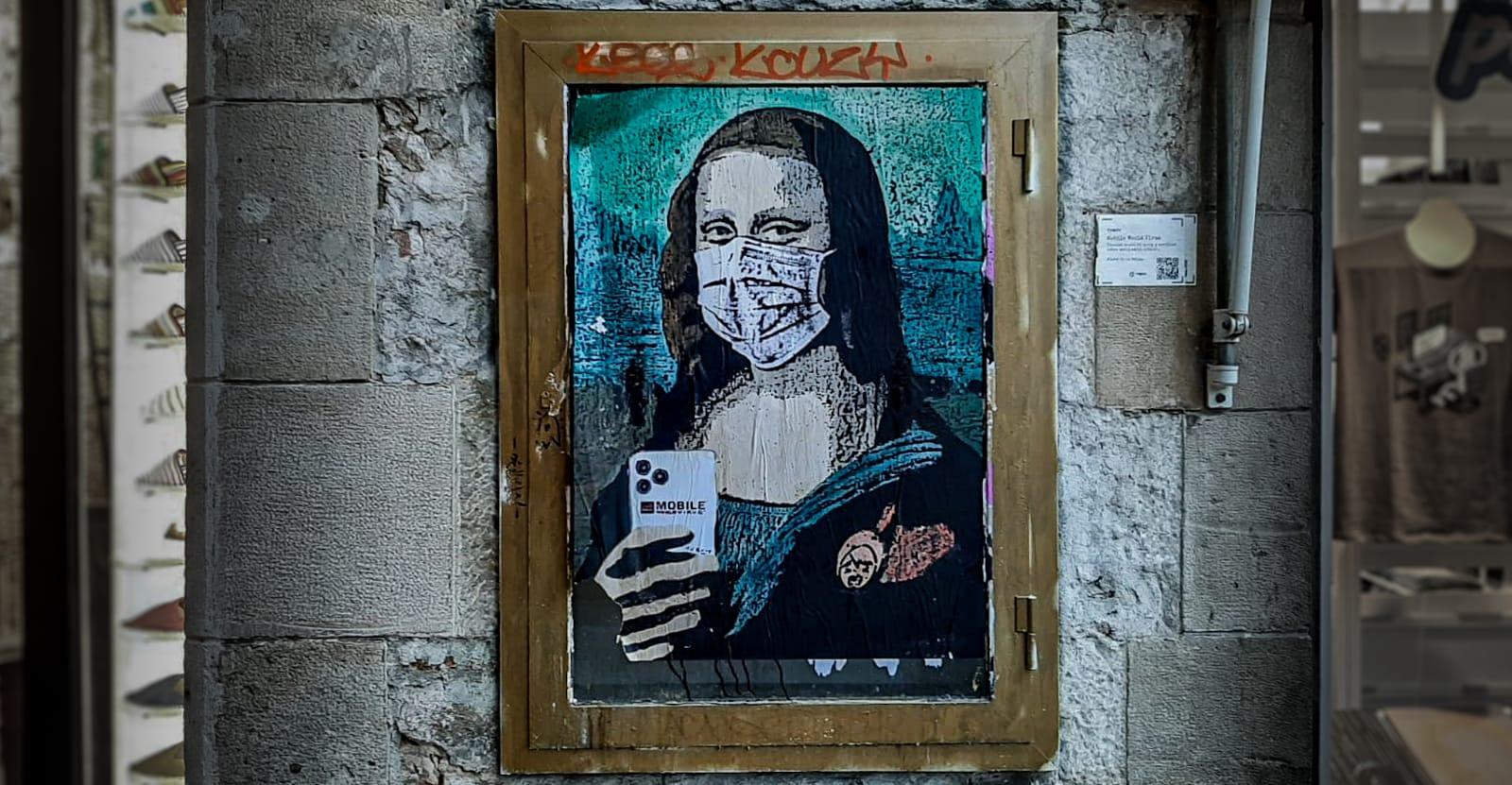 """Street art painting """"Mobile World Virus"""" by TVBoy"""