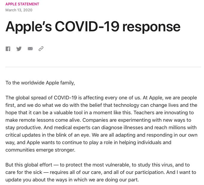 Screenshot of Apple's statement regarding Covid-19.
