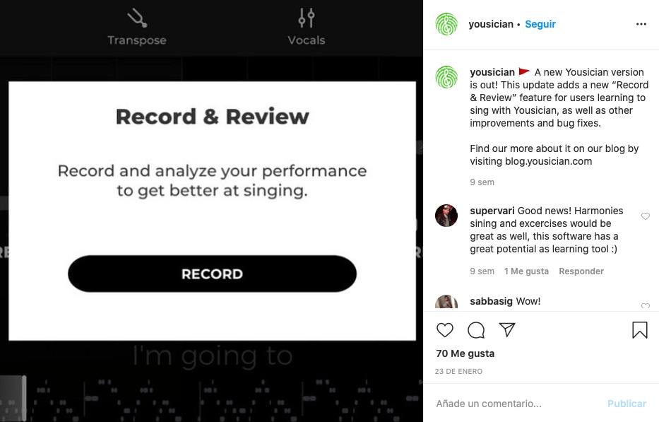 Captura de pantalla de la cuenta de Instagram de Yousician anunciando una nueva versión de la aplicación