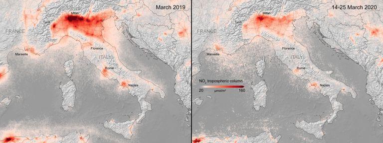 Niveles de dióxido de nitrógeno antes y después del cierre de Italia. /ESA