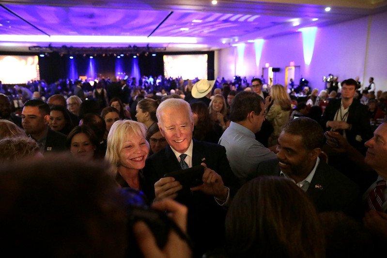 Joe Bidden Bernie Sanders With Supporters