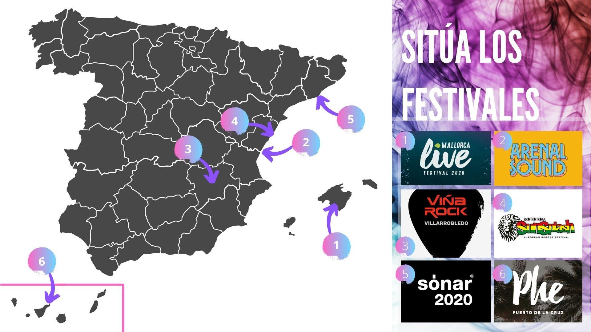 Mapa de festivales en España / freepik.com
