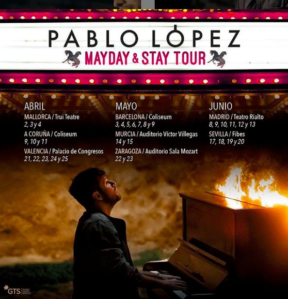 """Imagen de las fechas de la gira """"Mayday & stay tour"""" de Pablo López"""